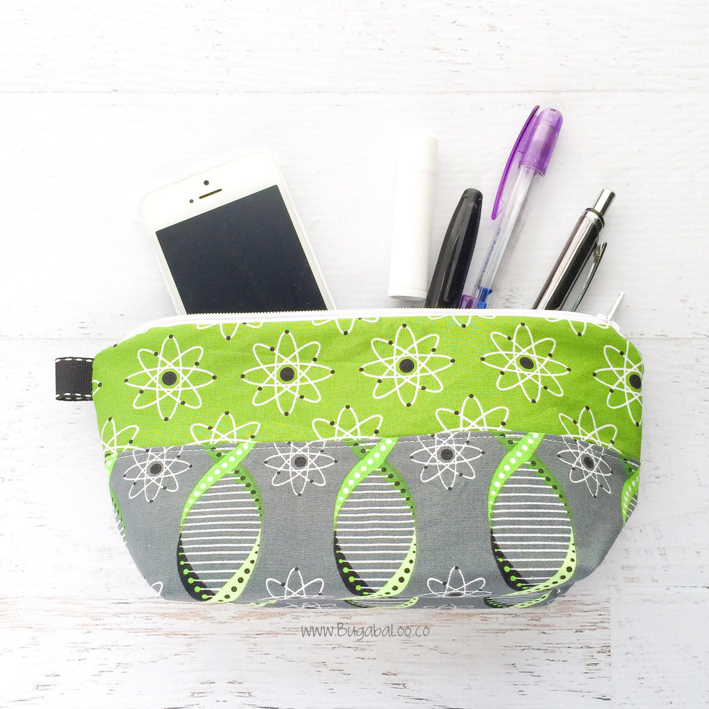 Busy Bee Bag - Medium Geek Gear Zippered Pouch - Green and Gray Atoms and Double Helix