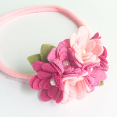 Felt Flower Headband - Pink Cluster Felt Flower Crown