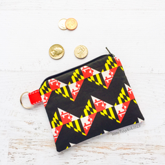 Katydid Coin Purse - Zippered Pouch - Small Maryland Flag Chevron