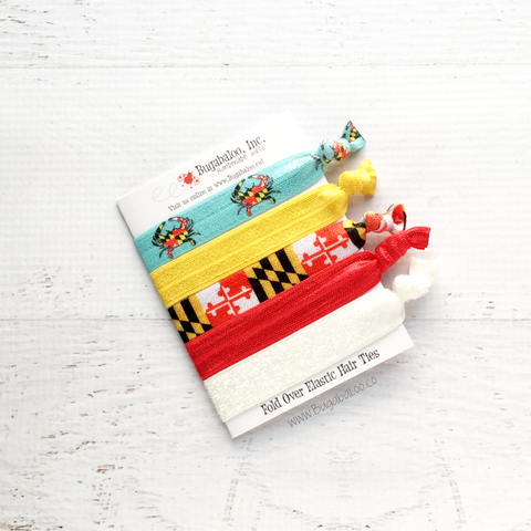 FOE No Crease Hair Ties - Maryland Flag, Crabs, and Glitter