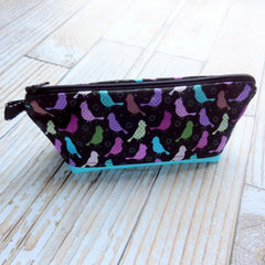 Busy Bee Bag - Zippered Pouch - Medium Skinny Bag - Song Birds