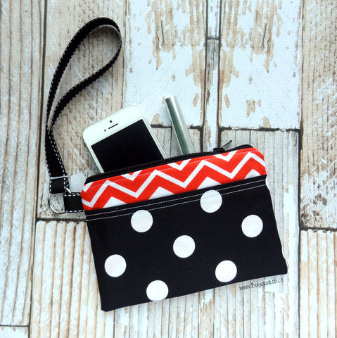 Wristlet Clutch- Orange and Black Chevron and Polka Dot Wrist Bag