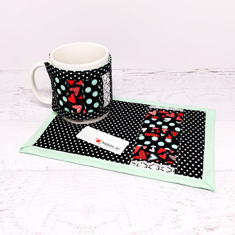 Mug Rug and Mug Cozy Gift Set - Valentine's Day Hearts and Polka Dots