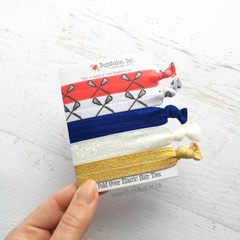 FOE Hair Ties - USA Lacrosse Red White and Blue with Gold