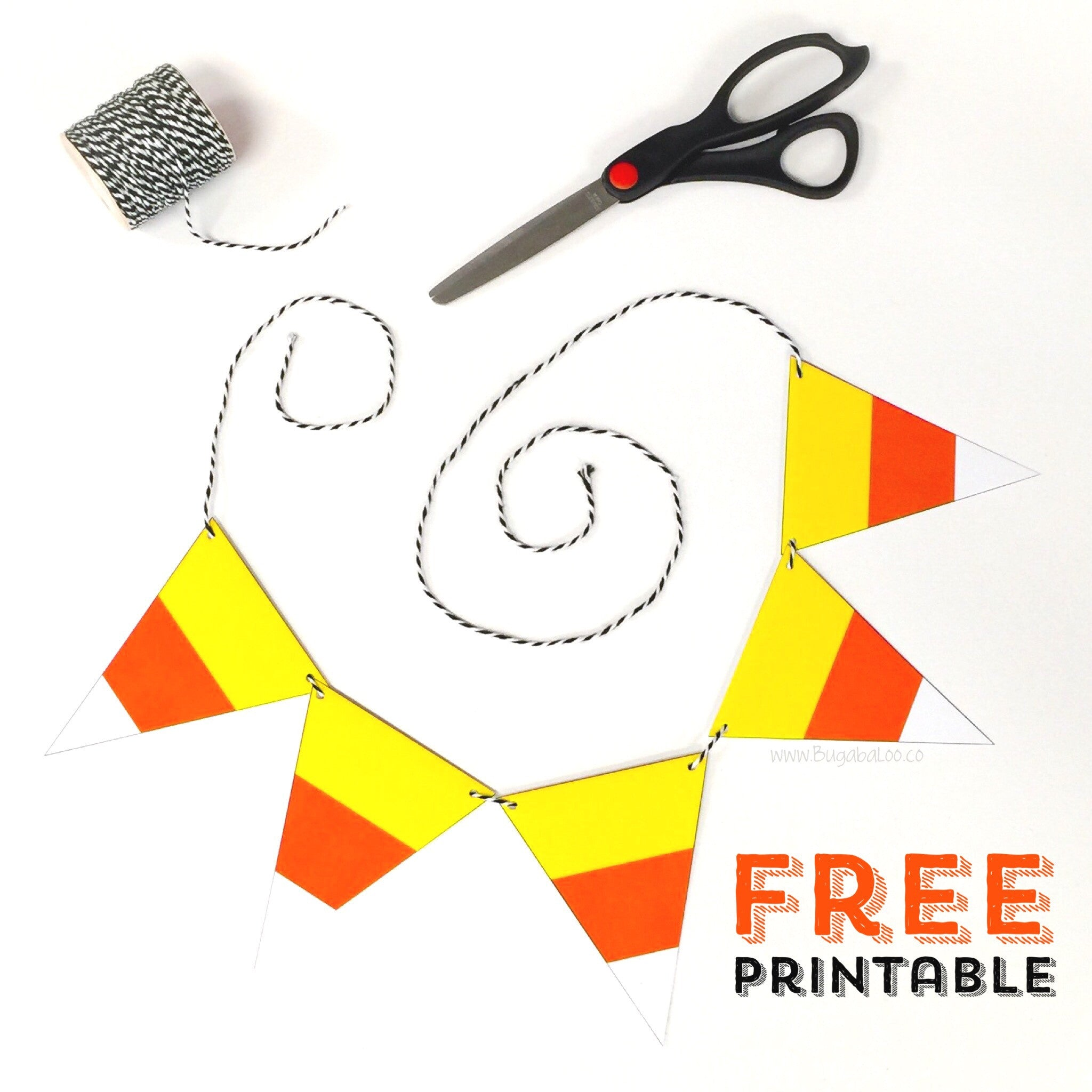 Free Printable Halloween Candy Corn Mini Bunting