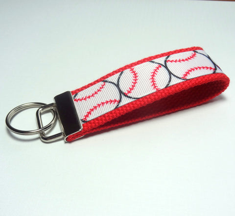 Key Fob (Medium): Red and White Baseball or Softball Themed Key Fob Key Chain