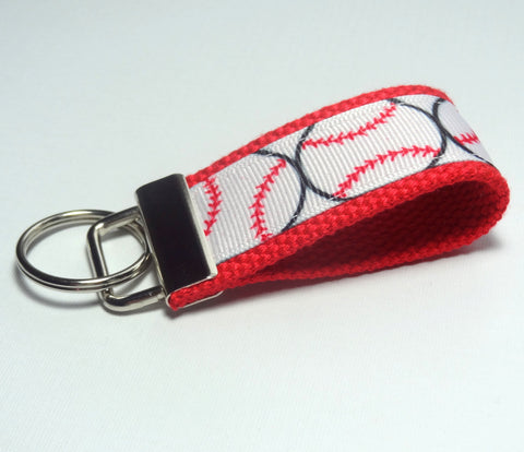 Key Fob (Small): Red and White Baseball or Softball Themed Key Fob Key Chain