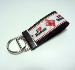 Key Fob (Small): Black and White I Heart Bacon Themed Key Fob Key Chain