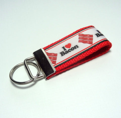 Key Fob (Small): Red, Black and White I Heart Bacon Themed Key Fob Key Chain