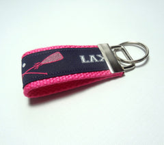 Key Fob (Small): Navy Blue and Pink LAX Lacrosse Themed Key Fob Key Chain