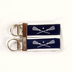 Key Fob (Medium): Navy Blue and White LAX Lacrosse Themed Key Fob Key Chain