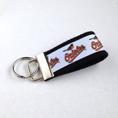 Key Fob (Small): Black, White and Orange Baltimore Orioles Baseball Themed Key Fob Key Chain