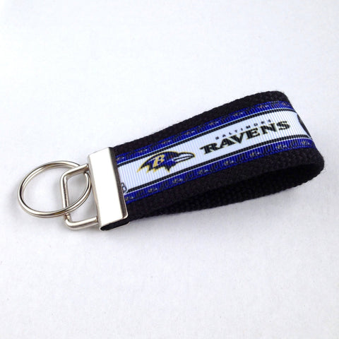 Key Fob (Medium): Black and Purple Baltimore Ravens Football Themed Key Fob Key Chain
