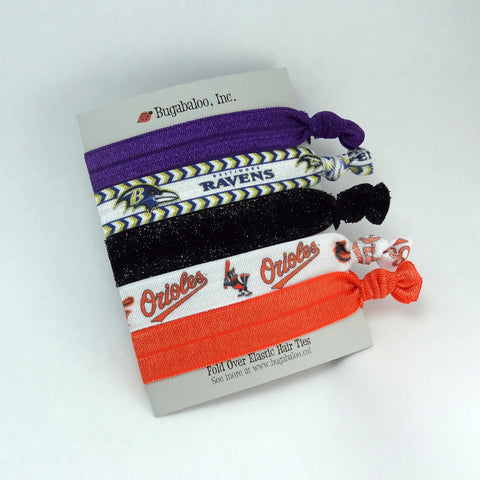 FOE No Crease Hair Ties - Birds of Baltimore Orioles Ravens, Set of 5