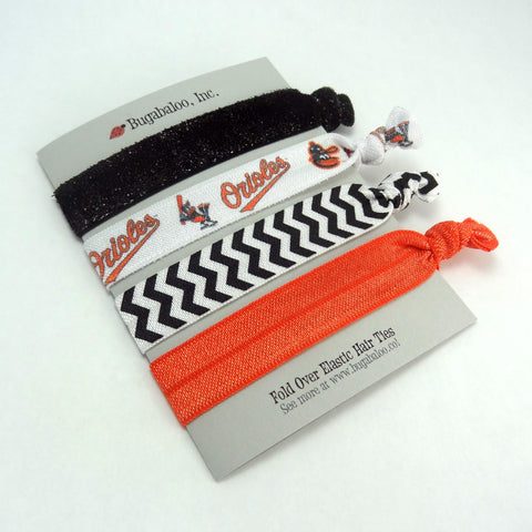 FOE No Crease Hair Ties - Baltimore Orioles, Set of 4