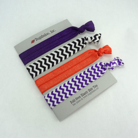 FOE No Crease Hair Ties - Baltimore Halloween Chevron, Set of 4