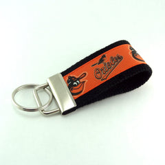 Key Fob (Small): Orange and Black Baltimore Orioles Baseball Themed Key Fob Key Chain