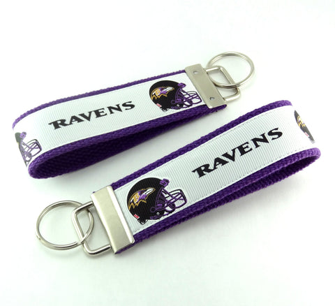 Key Fob (Large): White, Black and Purple Baltimore Ravens Football Themed Key Fob Key Chain