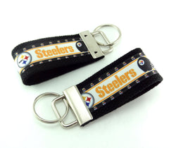 Key Fob (Small): Black and Yellow Gold Pittsburg Steelers Football Themed Key Fob Key Chain