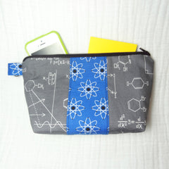 Bugabaloo Zippered Pouch - Medium Geek Gear Bag - Blue Atoms and Gray Chemistry Math