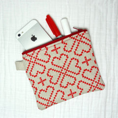 Zippered Pouch - Small Bag - Stitched Hearts