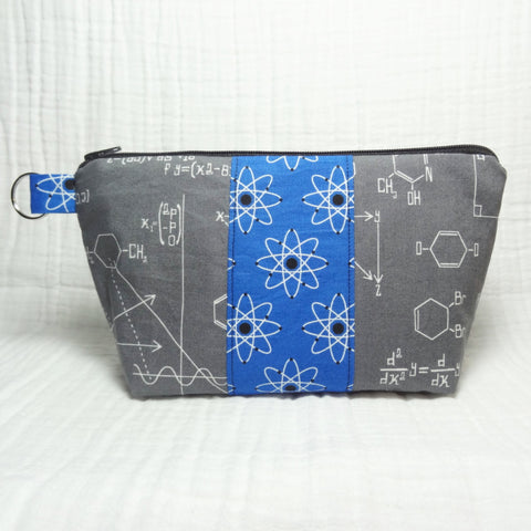Busy Bee Bag - Medium Geek Gear Zippered Pouch - Blue Atoms and Gray Chemistry Math