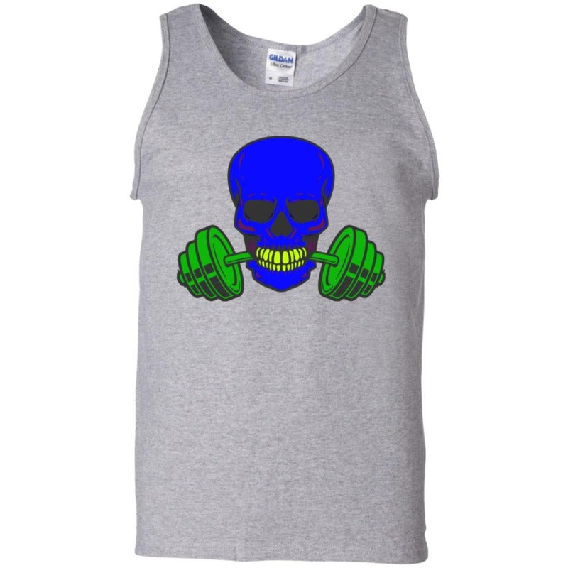 Men's Blue Skull And Weights Tank Top Sporty Types