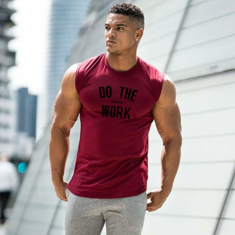 Men's Do The Work Print Muscle Vest Sporty Types