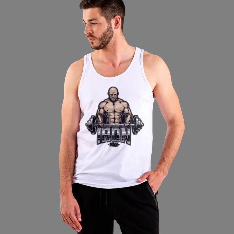 Men's Iron Man Print Tank Top Sporty Types