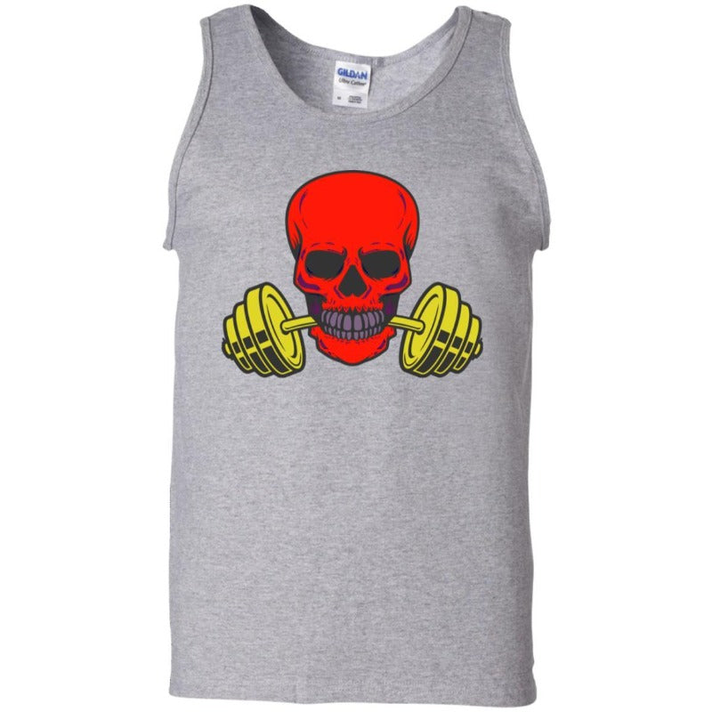 Men's Red Skull And Weights Tank Top Sporty Types