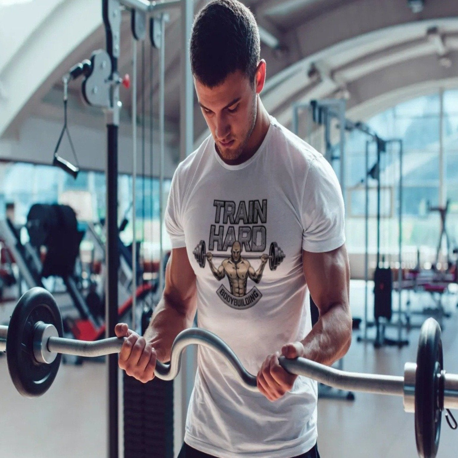 Men's Train Hard Bodybuilding Tee Sporty Types