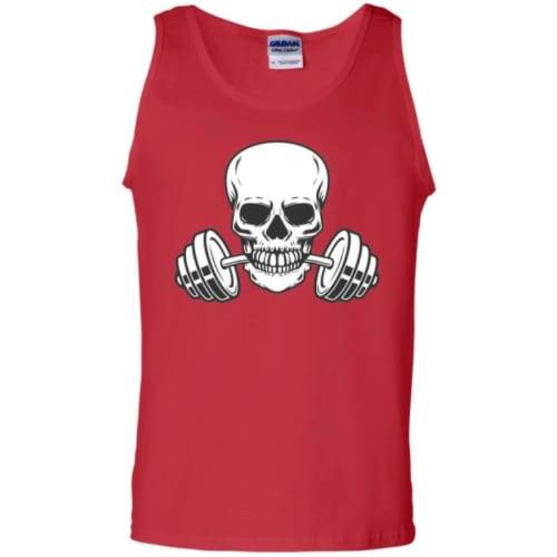 Men's White Skull And Weights Tank Top Sporty Types