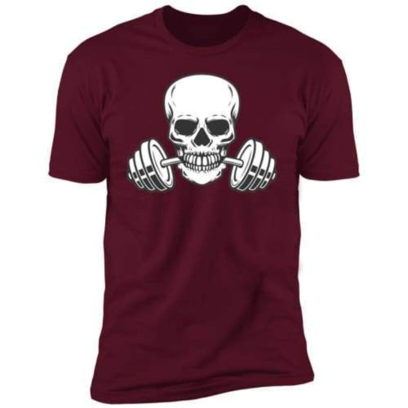 Men's White Skull And Weights Tee Sporty Types