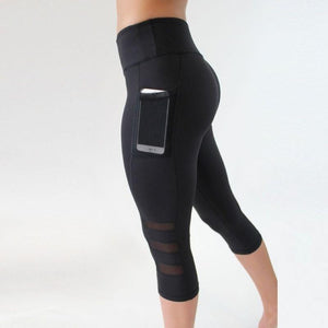 Women's Black Calf Length Leggings Sporty Types