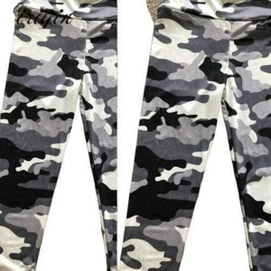 Women's Grey And White Camouflage Leggings Sporty Types