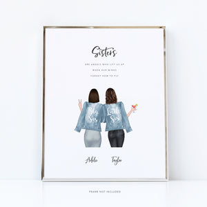 Sister to sister wall art | big sis little sis print