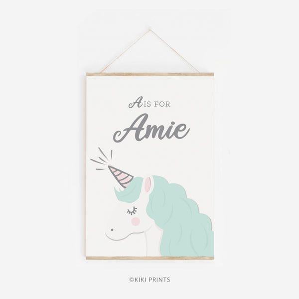 Mint Unicorn Print for Child's Nursery Wall