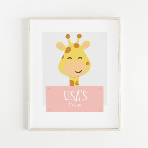 Femi Giraffe Animal Print for Nursery Room | Personalised Wall Art for Babies (DIGITAL DOWNLOAD)