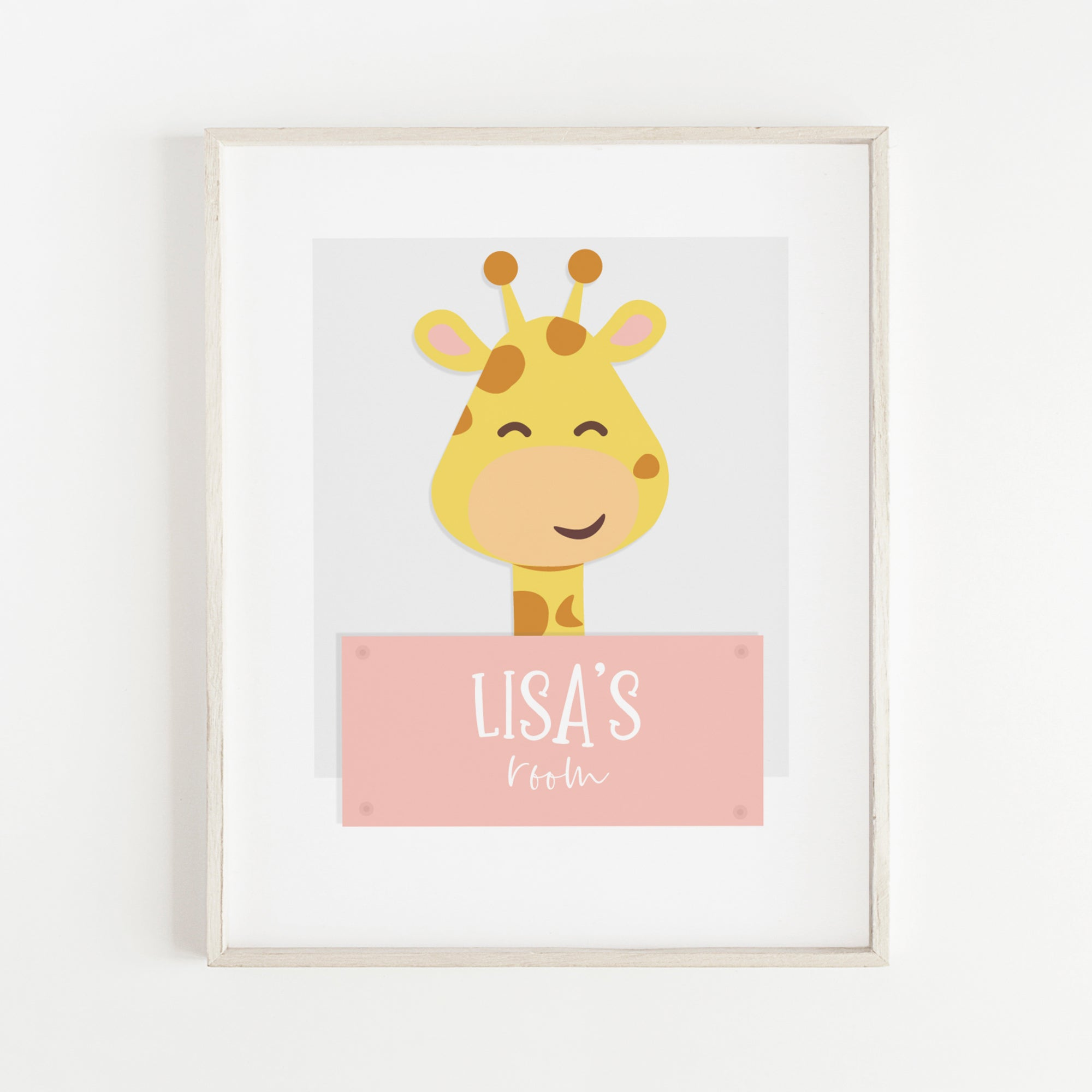 Lisa Giraffe Baby Girl Nursery Print | Personalised Wall Art