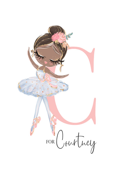 Blue Ballerina Wall Art for Nursery Personalised Print - Courtney