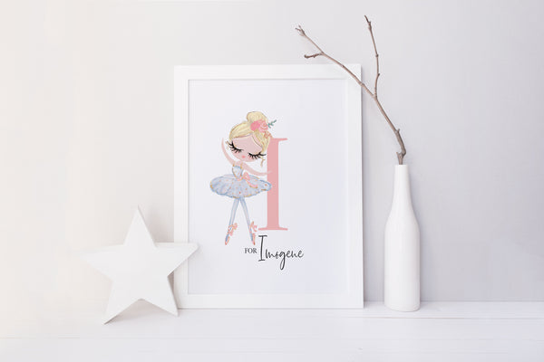Blue tutu ballet dancer | personalised nursery picture