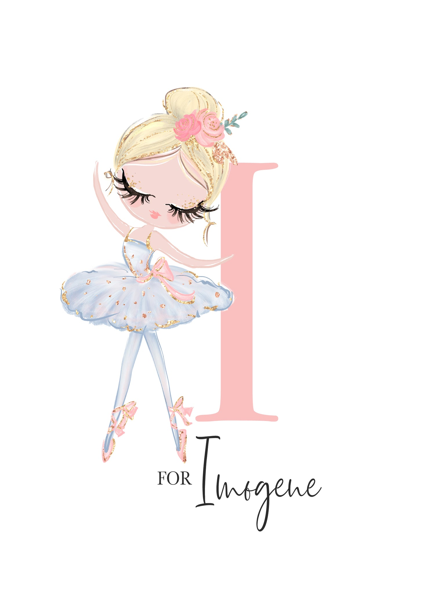 I is for Imogene Personalized Nursery Print for Babies