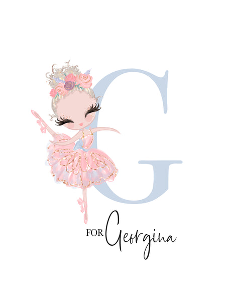 Pink Ballerina Wall Art for Nursery Personalised Print - Talia