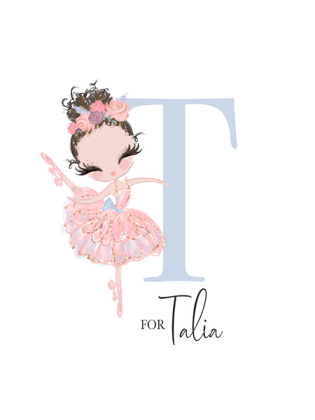 Baby Shower Pink Ballerina Print - Alphabet G is for Georgina Wall Art