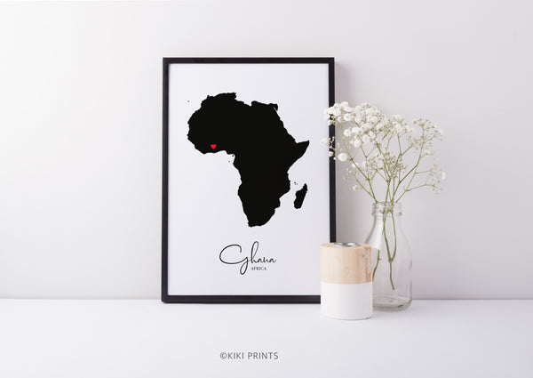 Black Map Africa home decor art