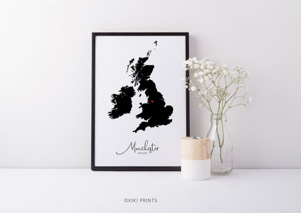 Black Map UK Wall Art