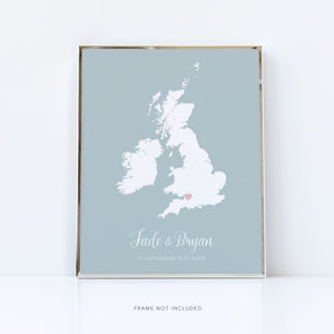 Romantic Map Gift | Personalised Map Gift