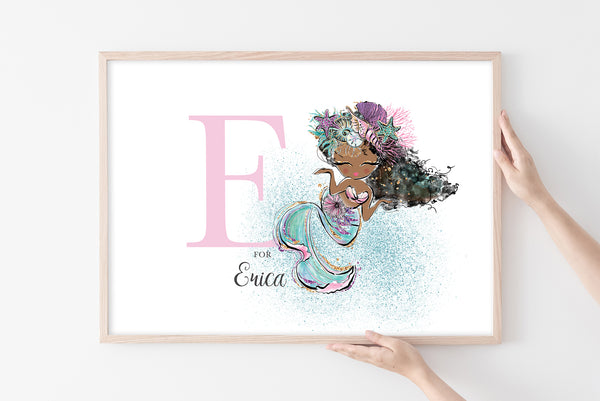 Personalised Mermaid Wall Print for Baby Room