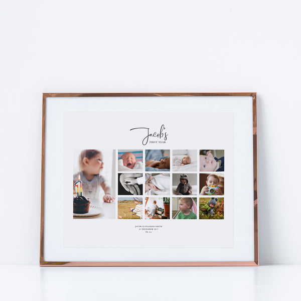 Baby's First Year Milestone Collage | 12 Months Baby Photo Print