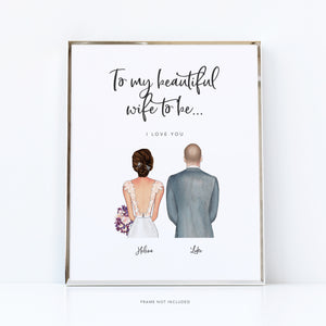 Bride to be gifts | bride and groom print